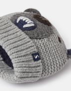 Joules Boys Chummy Knitted Character Hat GREY BEAR