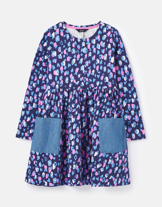 Joules Girls Nancy Jersey Breton Dress 1-12 Years - Blue Leopard