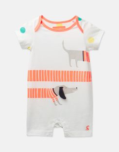 Joules US Patch Baby Boys Jersey Applique Babygrow WHITE SAUSAGE DOG