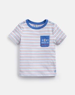 Joules US Mischief Younger Boys Official Peter Rabbit™ Collection Pocket Artwork T-Shirt 1-6 Years CREAM MULTI STRIPE