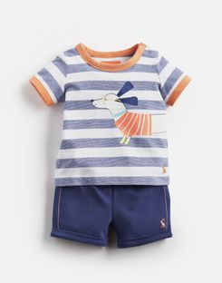 Joules UK Barnacle Baby Boys Jersey Screenprinted T-Shirt And Shorts Set NAVY SAUSAGE DOG STRIPE