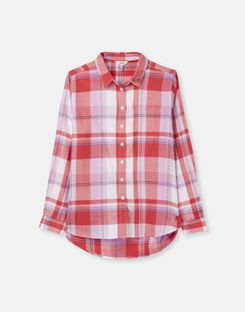 Joules UK LORENA Womens Relaxed Button Through Shirt RED CHECK