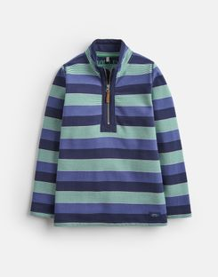 Joules US Dale Older Boys Half Zip Sweatshirt 1-12 Yr NAVY GREEN MULTI STRIPE