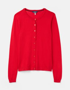 Joules UK Skye Womens Round Neck Cardigan RED