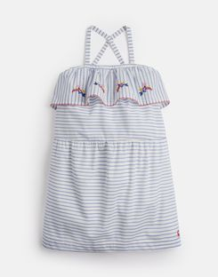 Joules UK May Older Girls Cross Over Back Dress 3-12 Yr WHITE BLUE STRIPE