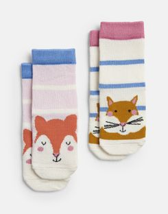Joules US Neat Feet Baby Girls 2 Pack Character Socks MULTI FOX SQUIRREL