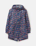 Joules Womens Golightly Print Waterproof Packaway Coat in INKY CREAM LILYPADS