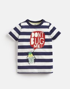 Joules UK RAY Younger Boys Glow In The Dark T-Shirt 1-6yr NAVY STRIPE BUG