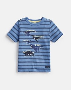 Joules US Ben Older Boys Screenprint T-Shirt 3-12 Yr BLUE STRIPE DINO FACTS