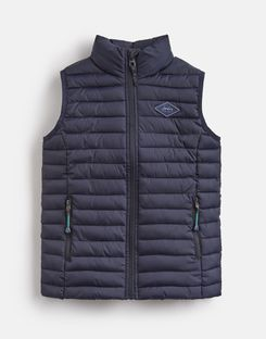 Joules US Crofton Older Boys Quilted Vest 1-12yr MARINE NAVY