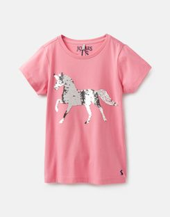 Joules UK Astra Older Girls Applique T-Shirt 3-12 Years PINK SEQUIN HORSE