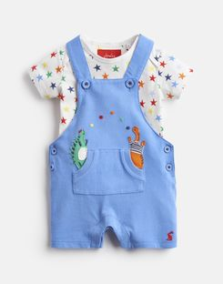 Joules US WADE Baby Boys Jersey Applique Dungarees And T-Shirt Set BLUE DINO STAR DUNGAREE