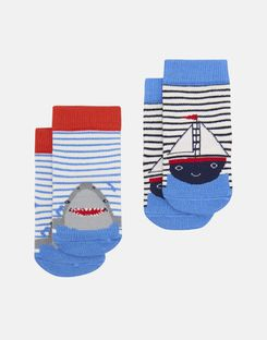 Joules US Neat Feet Baby Boys Character Socks Two Pack MULTI BOAT SHARK