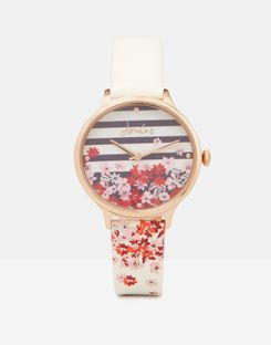 Joules UK Ambleside White Floral Womens Womens Printed Strap Watch WHITE FLORAL STRIPE