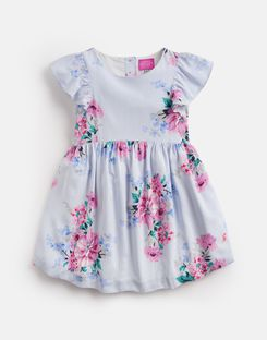 Joules UK EMELINE Younger Girls Woven Printed Dress 1-6yr SKY BLUE STRIPE FLORAL