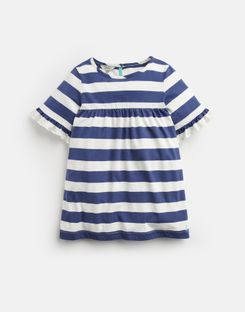 Joules US Tilly Older Girls Frill Sleeve Top 3-12 Yr CREAM BLUE STRIPE