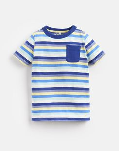Joules US Caspian Younger Boys Stripe T-Shirt 1-6 Yr BLUE YELLOW STRIPE