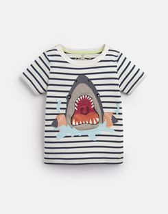 Joules UK Archie Younger Boys Applique T-Shirt 1-6 Yr BLUE STRIPE ARMBAND SHARK