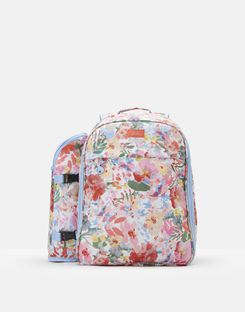 Joules UK PICNIC RUCKSACK Homeware Printed and Fully Insulated for Four People WHITE FLORAL