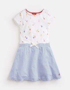 Joules UK KAROLINA Older Girls PRINT MIX DRESS 3-12 YEARS WHITE FRUIT