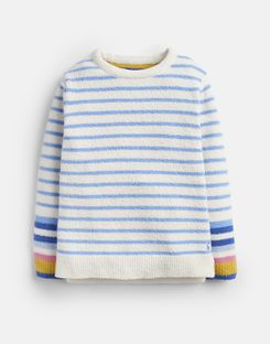 Joules US Seaham Older Girls Chenille Sweater 3-12 Years LAKE BLUE CREAM STRIPE