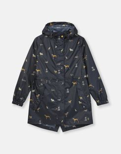 Joules US Golightly Print Womens Waterproof Packaway Jacket NAVY DOGS