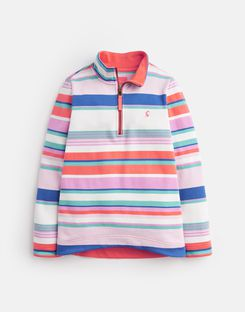 Joules UK FAIRDALE Older Girls HALF ZIP SWEATSHIRT 3-12yr PINK MULTI STRIPE