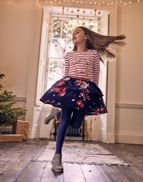 Joules Girls Ruffles Cord Tiered Skirt 3 12 Years in NAVY DEVITO FLORAL