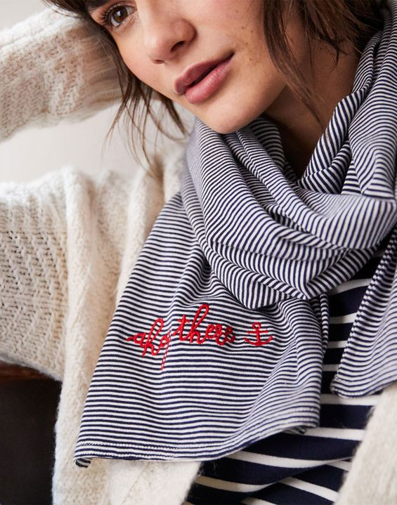 Joules US Coast Womens Striped Embroidered Scarf NAVY STRIPE