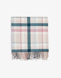 Joules UK Swanton Floral Check Homeware Throw GREEN PEACH CHECK