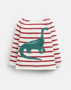 Joules US Barney Baby Boys Intarsia Sweater RED STRIPE DINO