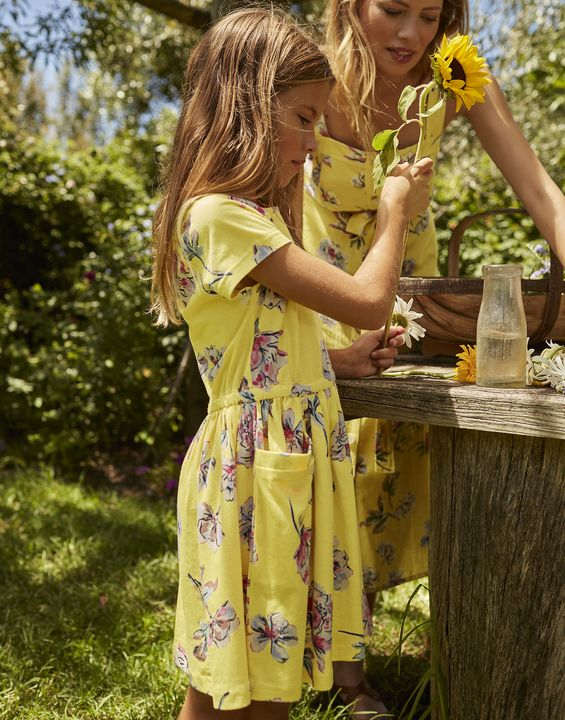 Joules Girls Jude Jersey Dress 1-12 Years - Yellow Floral