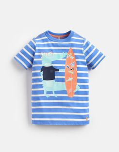 Joules UK Ben Younger Boys Screenprint T-Shirt 1-6 Yr BLUE STRIPE CROCODILE