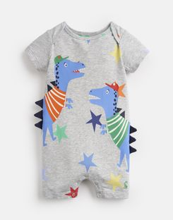 Joules US Patch Baby Boys Jersey Applique Babygrow GREY DINO STAR STRIPE