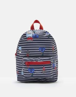 Joules UK ADVENTURE Boys Small Rubber backpack NAVY CREAM STRIPE ANIMAL