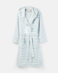 Joules UK Rita Womens Fluffy Dressing Gown BLUE STRIPE