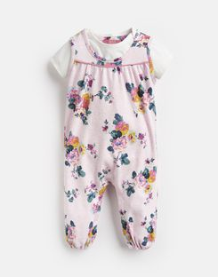 Joules US Olive Baby Girls Printed Jumpsuit Set PINK MARL SKELWITH