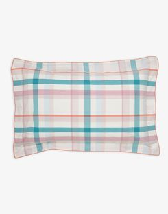 Joules UK Cottage Garden Check Oxford Homeware Pillowcase GREEN PEACH CHECK