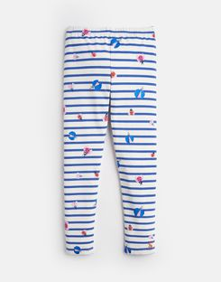 Joules US Deedee Younger Girls Jersey Printed Leggings 1-6 Yr CREAM STRIPE GLITTER BUGS
