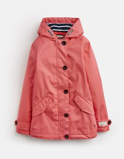 Joules US Coast Older Girls Waterproof Jacket 3-12 Yr BRIGHT CORAL