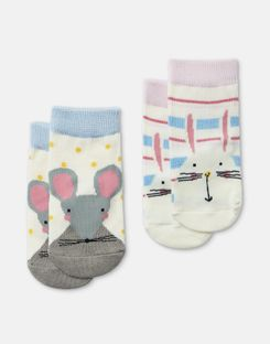 Joules US Neat Feet Baby Girls 2 Pack Character Socks MULTI BUNNY MOUSE