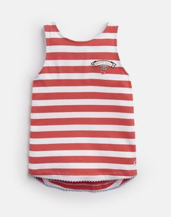 Joules UK Lou Older Girls Tie Back Tank Top 3-12 Yr CORAL WHITE STRIPE BERRY
