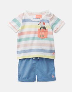 Joules UK Marvin Baby Boys Jersey Top And Woven Short Set WHITE MULTI STRIPE