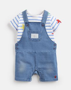 Joules US DUNCAN DENIM Baby Boys T-Shirt And Dungarees Set DENIM