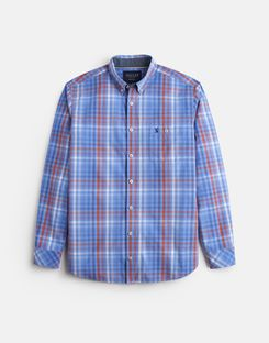 Joules US Hewney Mens Classic Fit Peached Poplin Shirt BLUE CHECK