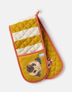 Joules UK KITCHEN OVEN Homeware GLOVES GOLD DOG
