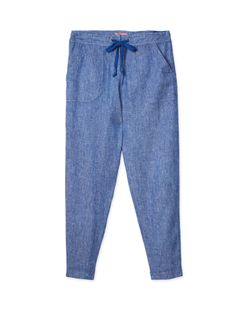 Joules UK Lindycrop Womens Cropped Linen Trousers BLUE