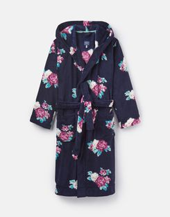 Joules US Rita Womens Fluffy Robe FRENCH NAVY ROSE FLORAL