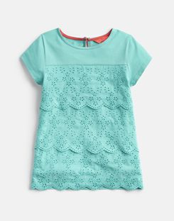 Joules UK Brodie Older Girls Broderie Detailed Top 3-12 Yr TURQUOISE