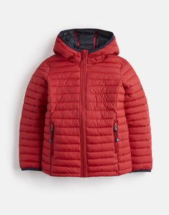 Joules UK Cairn Older Boys Packaway Padded Jacket 1-12 Yr RED